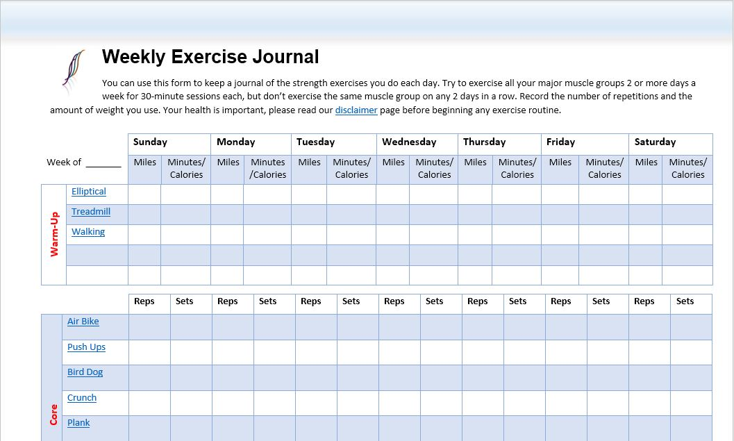 weekly-exercise-journal