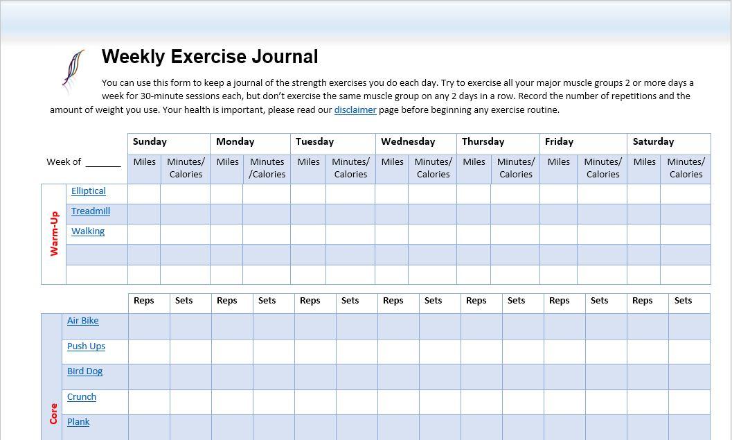 Workout Routine Journal