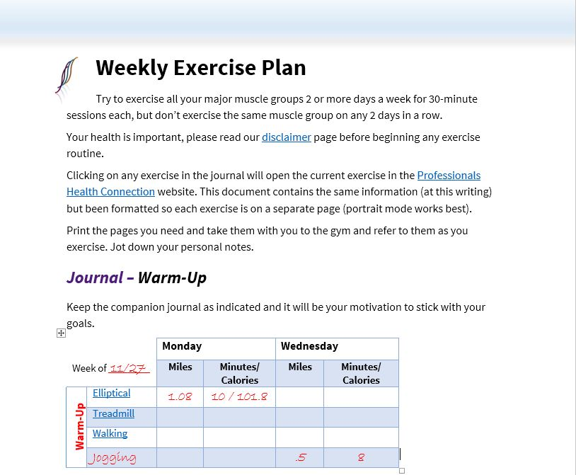 Free Weekly Exercise Planner for your Workout Routine