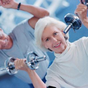 Elderly Lifting Weights