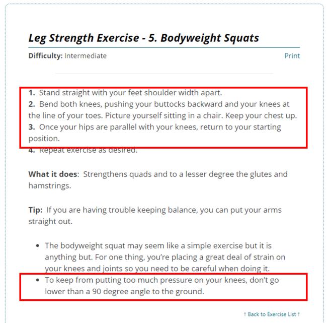 Bodyweight Squat Instructions