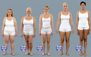 Five women showing Weight Ranges in Size