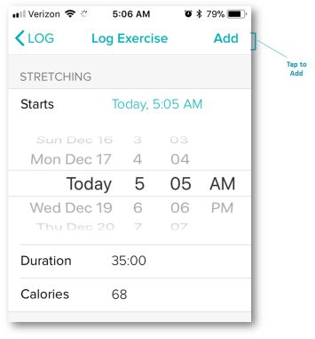 Fitbit App Time and Duration Entry