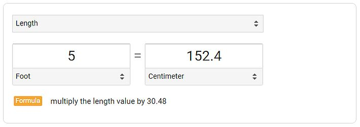 Conversion Table for inches to centimeters