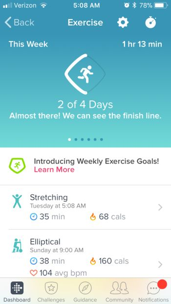 Log Your Workout - Fitbit App Exercise Screen Results