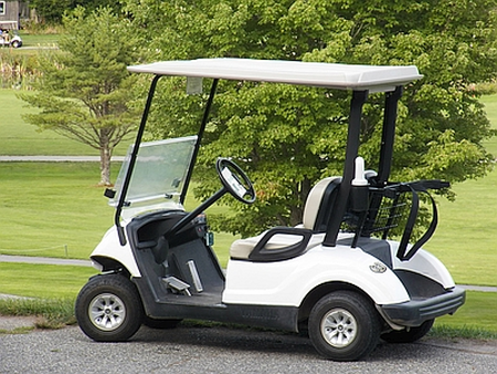 Recreational Sports - Empty Golf Cart at a Country Club