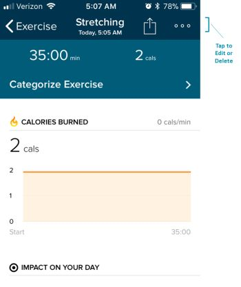 Log Your Workout - Fitbit App - Exercise Detail Screen