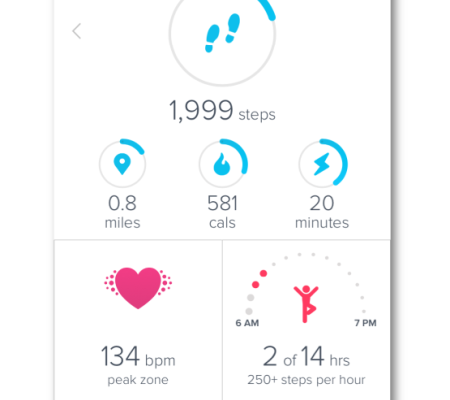 Fitbit App Showing Heart Rate